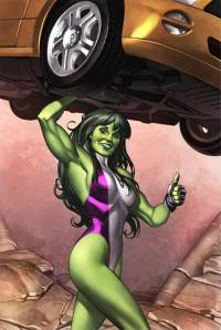 She-Hulk holding up a car.