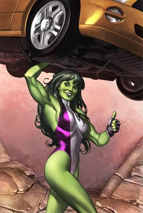 She-Hulk holding up a car.