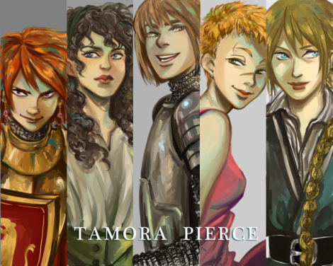 Picture of various Tamora Pierce characters.