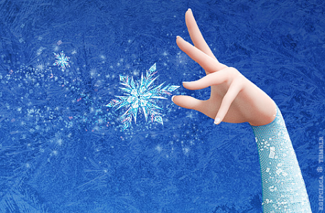 Close-up of Elsa making her signature snowflake from Frozen.