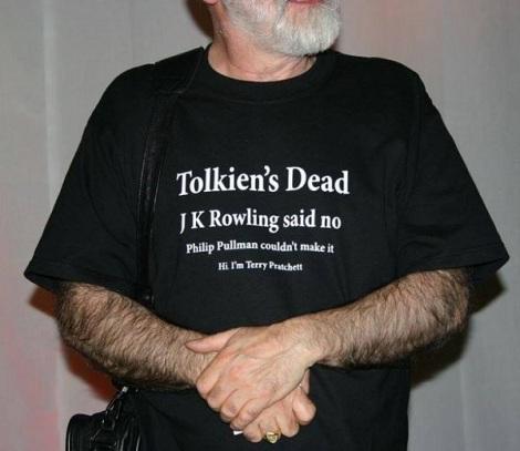 Photo of Terry Pratchett's humorous t-shirt.