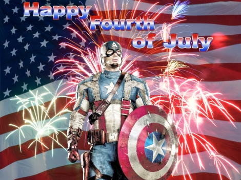 Photo of Captain America celebrates the 4th of July. Of course. :)