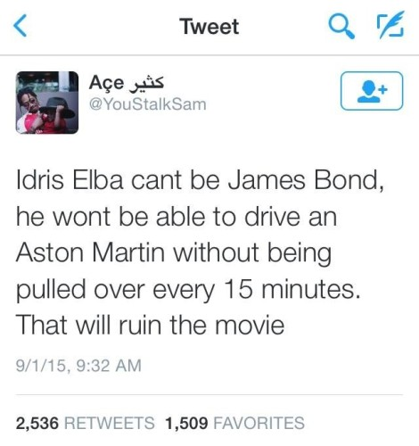 Picture of Tweet about Idris Elba playing James Bond.