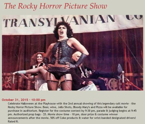 Brown County Playhouse - Rocky Horror Picture Show Webpage write-up.