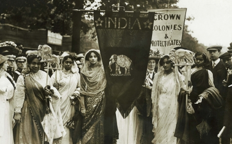 Archive photo of Indian women campaigning for the right to vote.