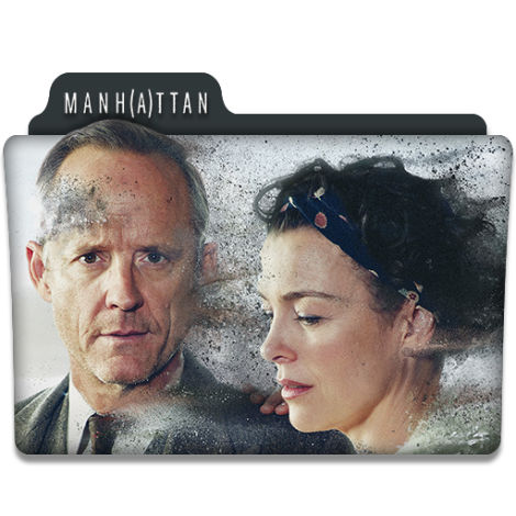 Manhattan TV series logo featuring actors.