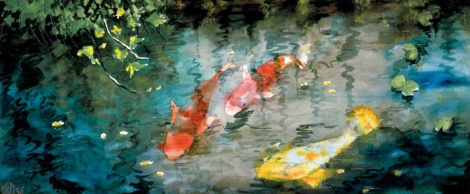 Koi fish watercolor painting by Kellye Wallett