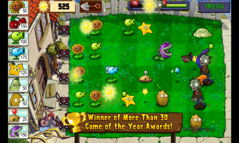 Plants vs Zombie game play screen
