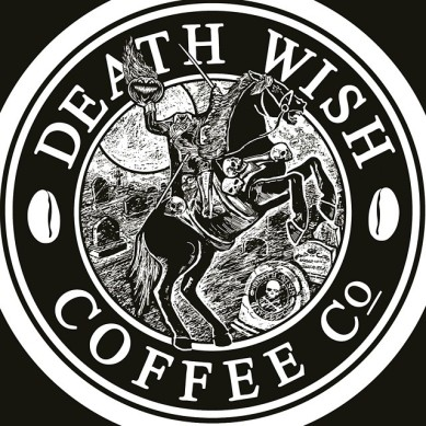 Death Wish Coffee logo with Headless Horseman