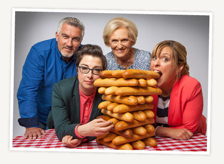 Judges and Announcers for the Great British Baking Show.