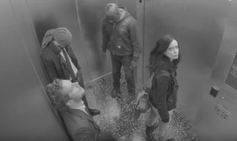 Picture of the Defenders on an enemy owned elevator.