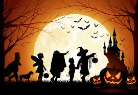 Halloween graphic with trick or treaters