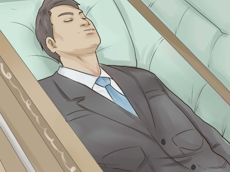 Drawing of embalmed corpse in casket