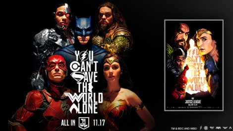Justice League movie poster with Fandango art