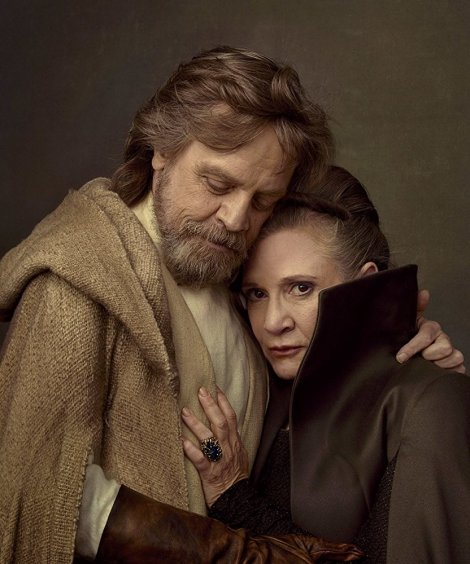 Mark Hamill and Carrie Fisher as Luke and Leia