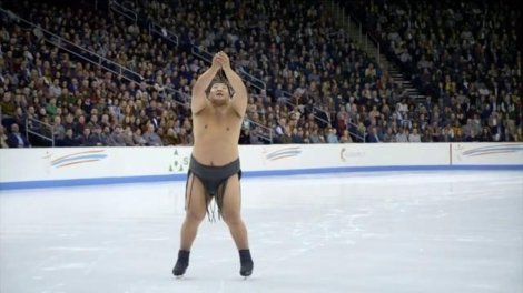 Sumo wrestler on ice from GEICO commercial.