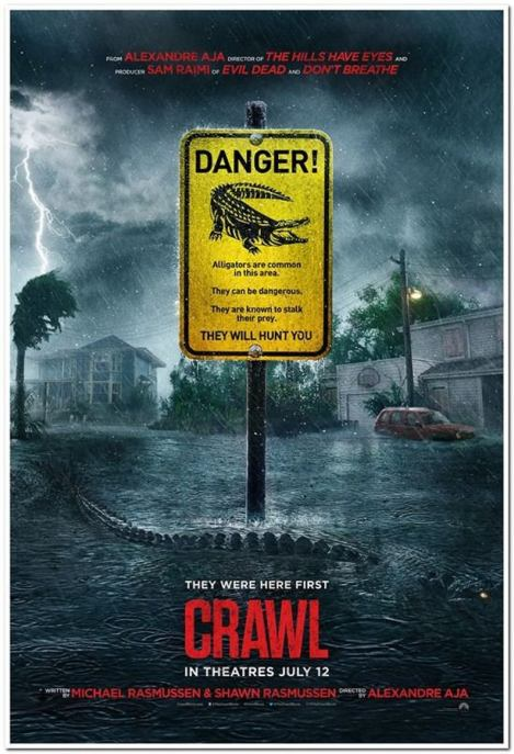 Crawl movie poster with alligator warning sign.