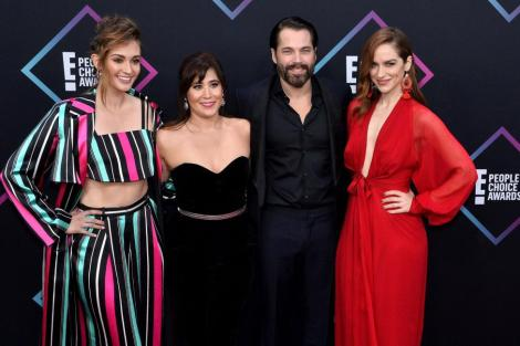 "Melanie Scrofano (R), pictured with Katherine Barrell, Emily Andras and Tim Rozon (left to right), plays the title character in the Syfy series ""Wynonna Earp."" File Photo by Jim Ruymen/UPI 