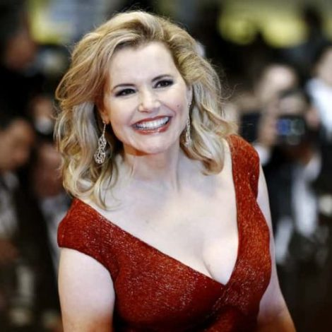 Geena Davis in red dress.