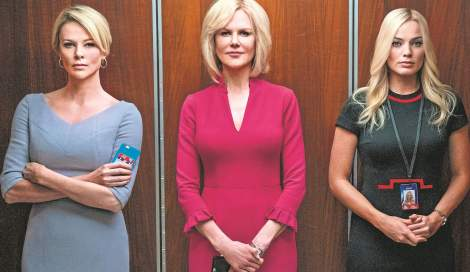 Bombshell images of heroines in elevator.