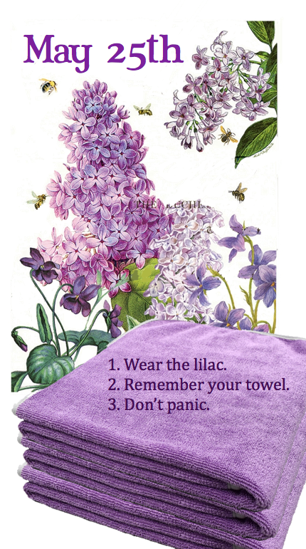 Wear the lilac towel graphic.